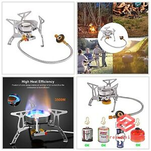 Mini Windproof Backpacking Stove with Convenient Piezo Ignition Gas Burner 3500W