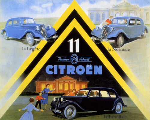 POSTER CITROEN 11 TRACTION AVANT FRENCH EXECUTIVE CAR VINTAGE REPRO FREE S//H