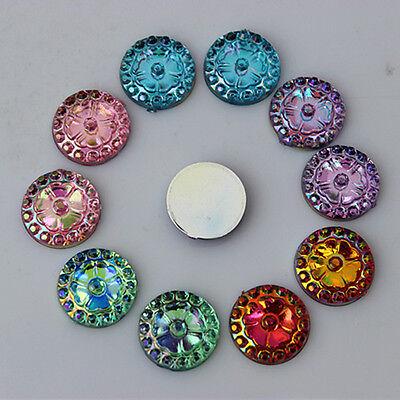 200PCS 10mm Round Acrylic Rhinestones Crystal Flat Back Beads  ZZ385