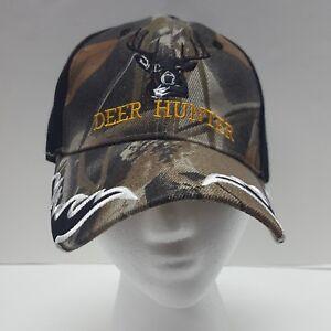 Deer Skull Hunter Predator Horns Camouflage Black Front Embroidered Cap Hat