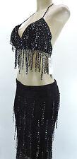 Sexy Bead Belly Dance Dancing Beaded Skirt Bra Lingerie Costume Black One Size
