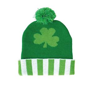 357bae086474ad St. Patrick's Day Shamrock Beanie Pom Pom Clover Lucky Hat Knit Cap ...