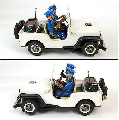 1950's Nomura Police Patrol Jeep Japanese Tin Toy Rare Vintage Free Shipping