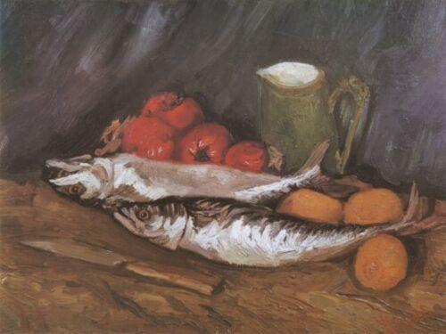 Still Life Mackerel Lemons Van Gogh VG243 Repro Art Print A4 A3 A2 A1
