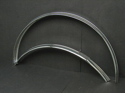 """Vtg NOS Bicycle Chrome 26"""" Front & Rear Fender Set Made in England 1 7/8"""" Wide"""