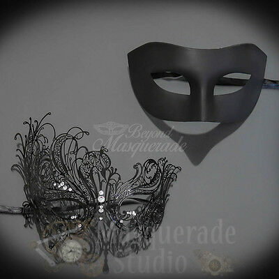 Couples Black Minimalist and Red Extravagant Costume Party Masquerade Mask Set