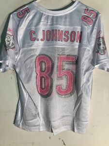 62622168 Details about Reebok Women's NFL Jersey Cincinnati Bengals Chad Johnson  White Pink Numbers L