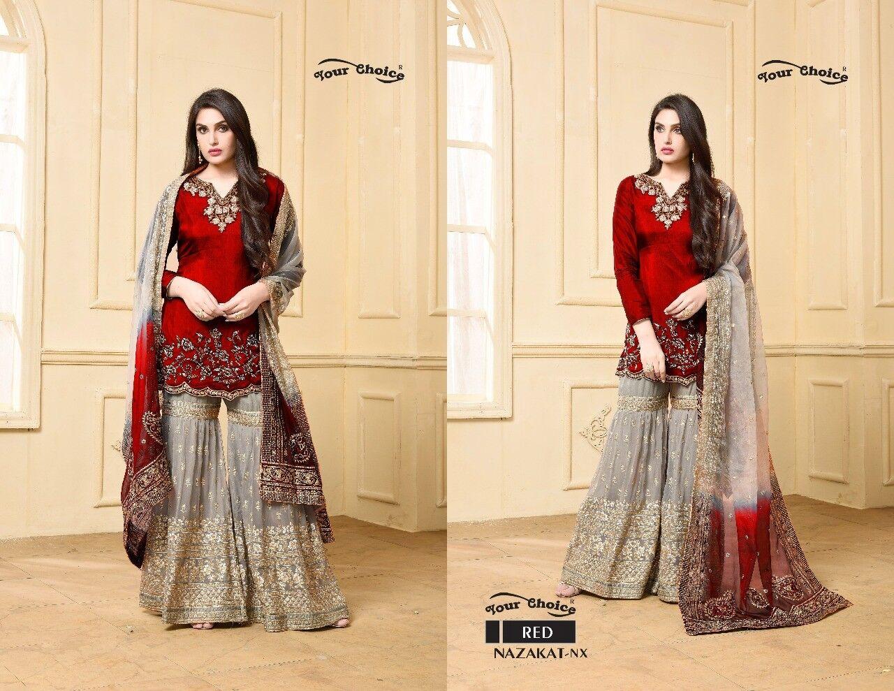 Indian Designer Shraras Suit Fully stitched your choice NX Red Shalwar kameez