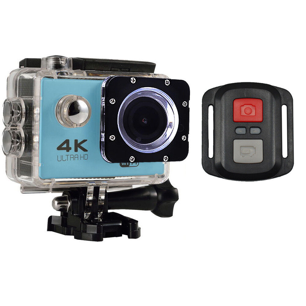 4K Ultra HD 16MP WiFi Waterproof Sports Action Camera 2.0 (Blue) + RF Remote 16mp action camera Featured remote sports ultra waterproof wifi