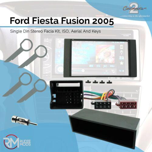 Ford Fiesta Fusion 2005 sobre Single Din Stereo Facia Kit ISO aérea Llaves