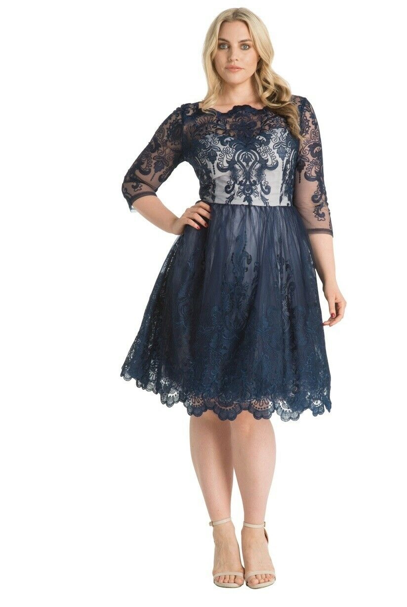 Chi Chi London 3 4 Sleeve  Baroque Style Tea  Embroidery Dress  22  Navy