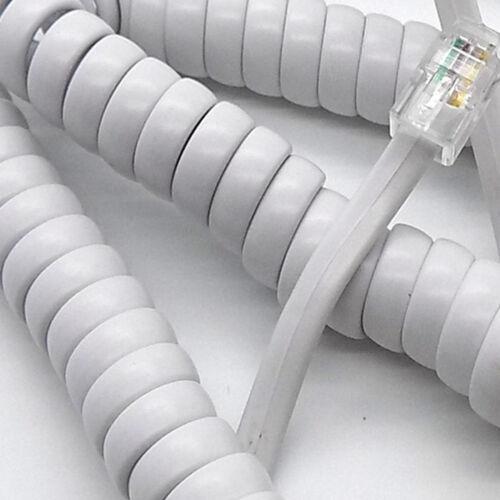 3m Telephone Handset Phone Coiled RJ10 Plug to RJ10 Plug Cable White 4P4c Lead