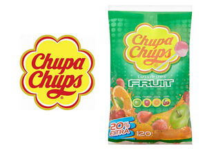 Details about CHUPA CHUPS FRUIT LOLLIPOPS BAG OF 120 APPLE STRAWBERRY  ORANGE CHERRY FLAVOURS