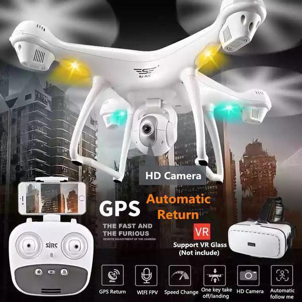 S70W 2.4GHz GPS FPV Drone  Quadcopter with 1080P HD teletelecamera Wifi w LED luci VR  elementi di novità