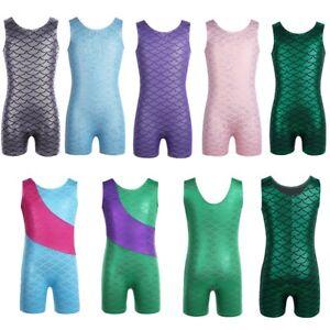 Girls Glittery Camisole Tank Top Mermaid Ballet Gymnastics Leotard Dancewear