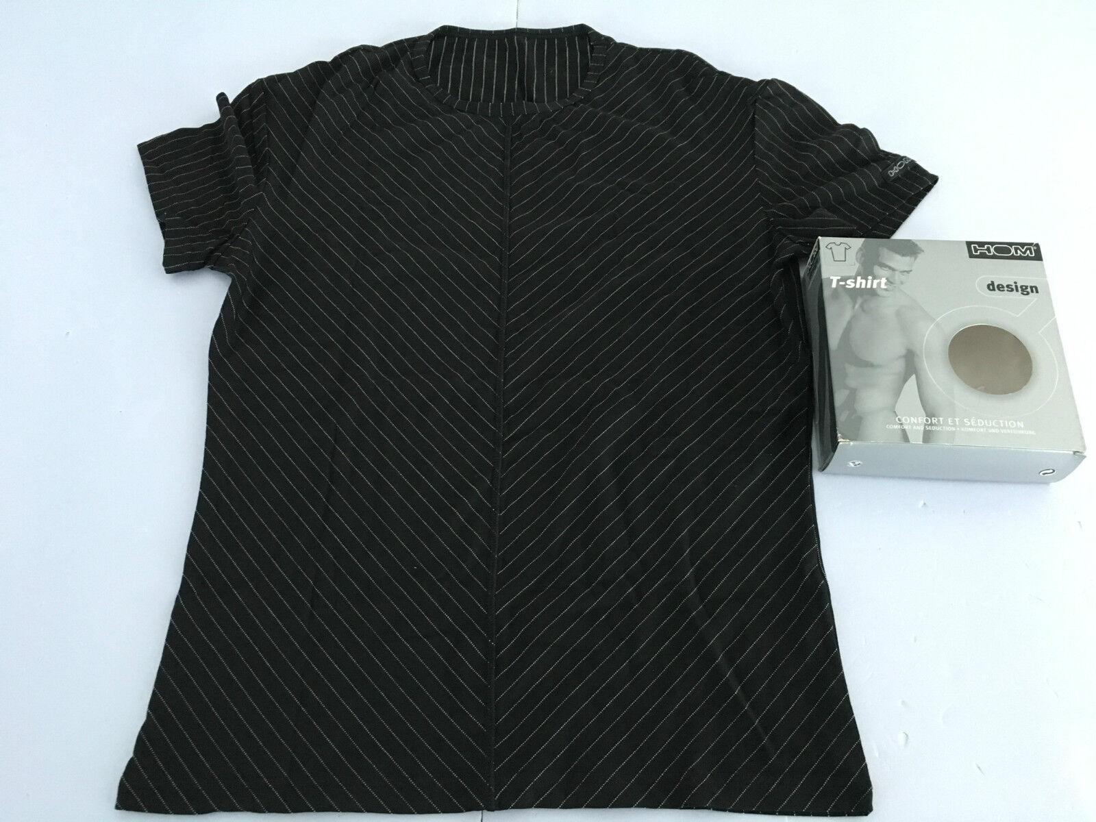 HOM T-Shirt Herren Streifen schwarz / weiss Rundhalsausschnitt mod RAY WH 94%