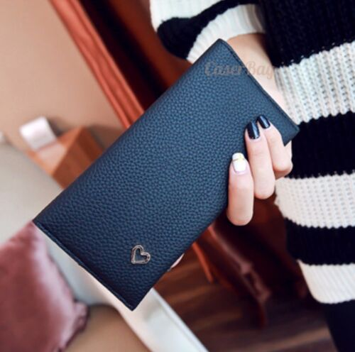 Fashion Women/'s Elegant Lady Concise Heart Slim Long Soft Faux Leather Wallet
