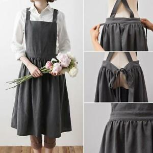402afd34b8 Image is loading Women-Bib-Apron-Cotton-Linen-Sleeveless-Pinafore-Dress-