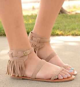 62784e6291072 Image is loading Womens-Gladiator-Sandals-Fringe-Strappy-Braided-Flat-Faux-