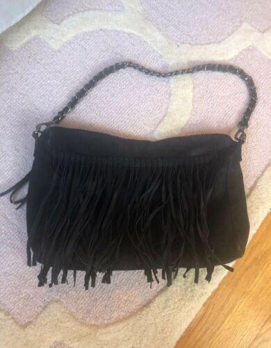 Charlie Black Fringe Suede Bag