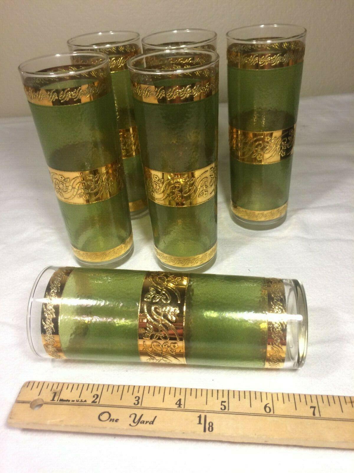 Verre vert & or Script whisky soda verres Set de 6 verres à eau, antique Vintage Set