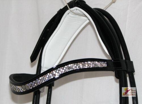 FSS shining courbe u Cristal Bling roulé confort blanc matelassé brevet Glos bridle