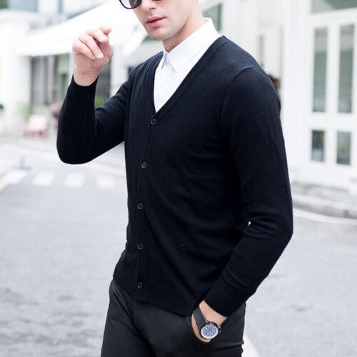 Herren V-Ausschnitt Knopf Cardigan Strickjacke Langarm Winter Mantel Pullover
