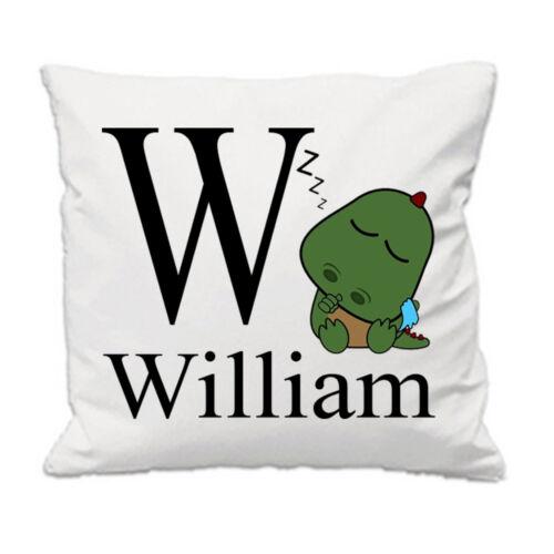 Cute Dino name cushion cover boy toddler custom nursery personalized cushion