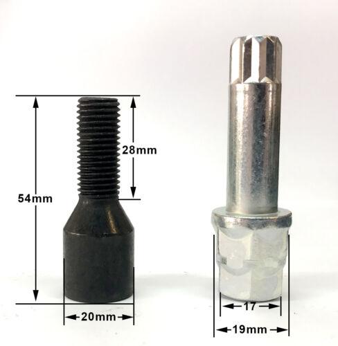 Sintonizador de Rueda de Aleación Pernos Negro M12 X 1.5 Con Llave Hexagonal Estrella-Opel 17mm X 20