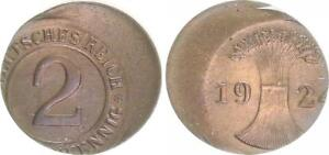 Weimar 2 Pension Penny 1924 Lack Coinage: 30% Dezentriert Vf-Xf
