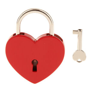 Large-Heart-Shape-Padlock-w-Key-Closet-Security-Shackle-Lock-Set-Red