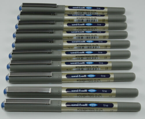 10 X UNI BALL EYE FINE UB-157 ROLLER BALL PEN 0.7mm BLACK AND BLUE MITSUBISHI