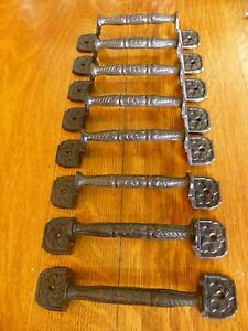 """8 LARGE 8.5"""" BASKET WEAVE ANTIQUE-STYLE CAST IRON CABINET DOOR GATE HANDLE PULL"""