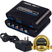 R/l Rca Component Rgb Ypbpr To Hdmi Converter Stereo Audio Video Adapter Box on sale