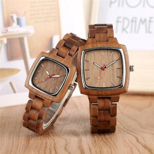 Handmade Natural Wood Square Bamboo Case Unisex Watch Dress Quartz Watches Gift