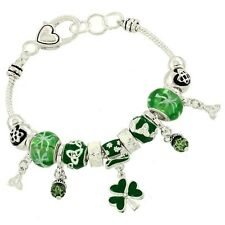 Clover Bracelet Multi Sliding Bead Leaf St Patricks Irish SILVER Celtic Jewelry