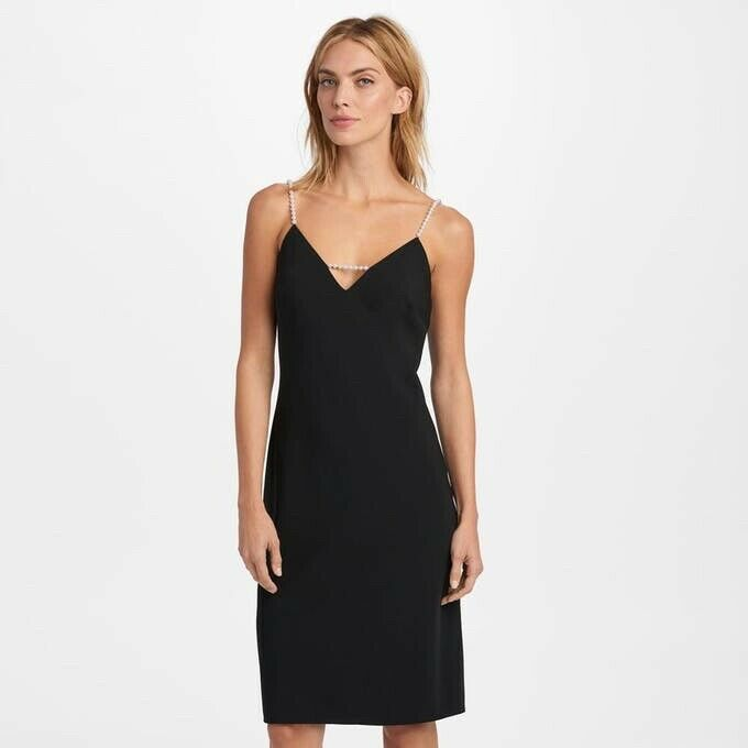 Karl Lagerfeld 319  Paris Pearl Strap V Neck Crepe Party Dress Größe 12