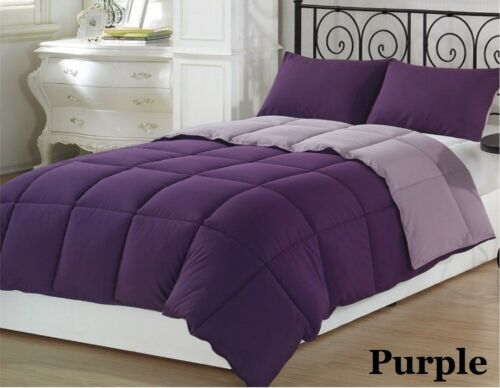 200 GSM Down Alternative Soft Comforter Egyptian Cotton Purple Solid US Sizes