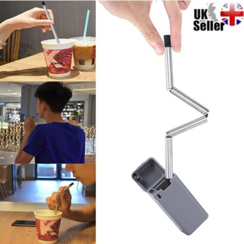 ABS Foldable Reusable Collapsible Stainless Steel Straw BPA Free Outdoor Gift UK