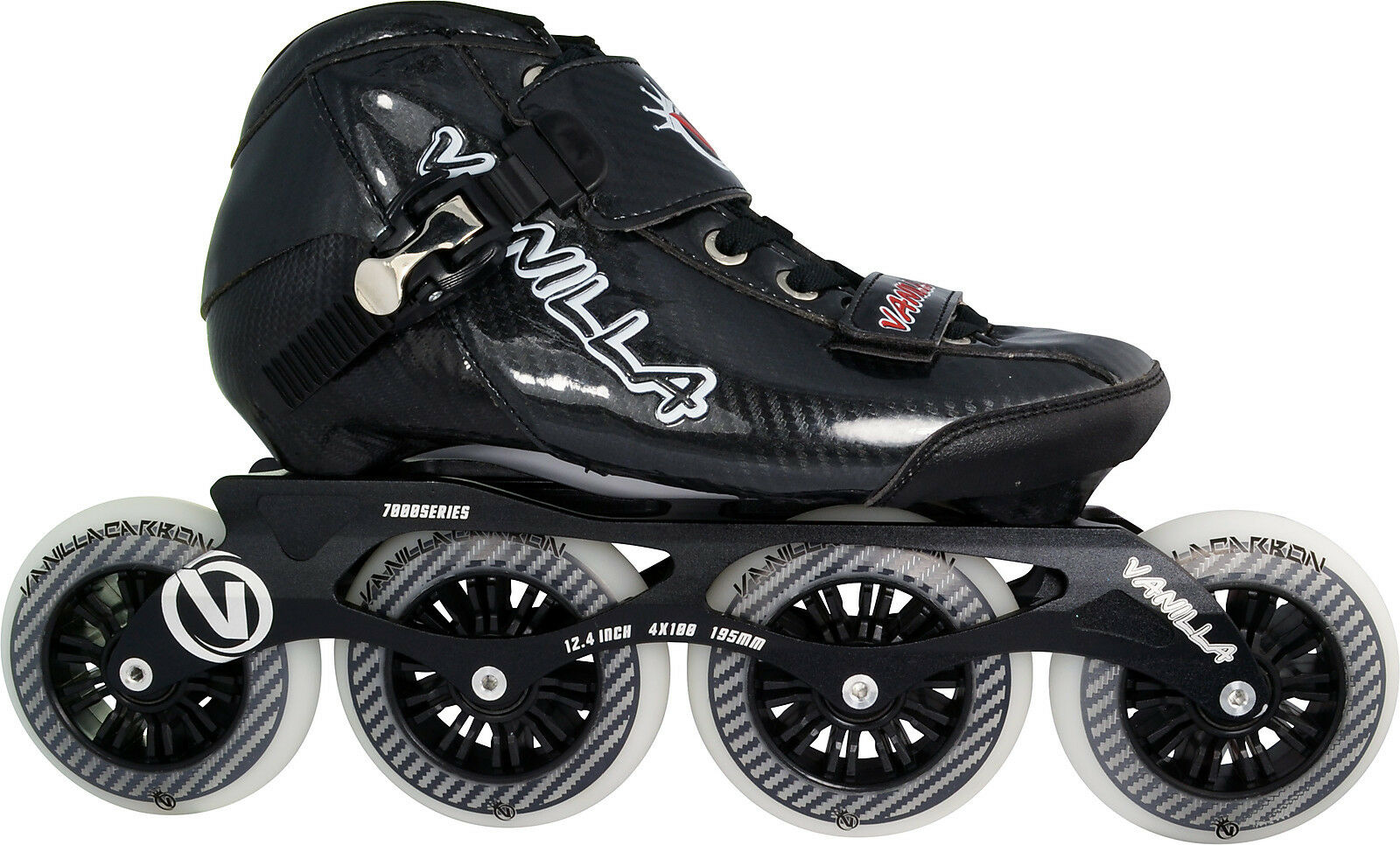 Noir Vanilla Carbone Inline 3X100,4 Vitesse Patins - 3X100,4 Inline X 100mm Roues Taille 1-13 0444a8