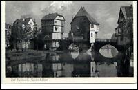 Bad Kreuznach alte Postkarte um 1930/40 Partie an den Brückenhäusern Brücke