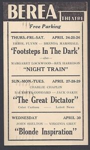 1941-BEREA-THEATRE-OH-CLASSIC-MOVIE-THE-GREAT-DICTATOR-C-CHAPLIN-SEE-INFO