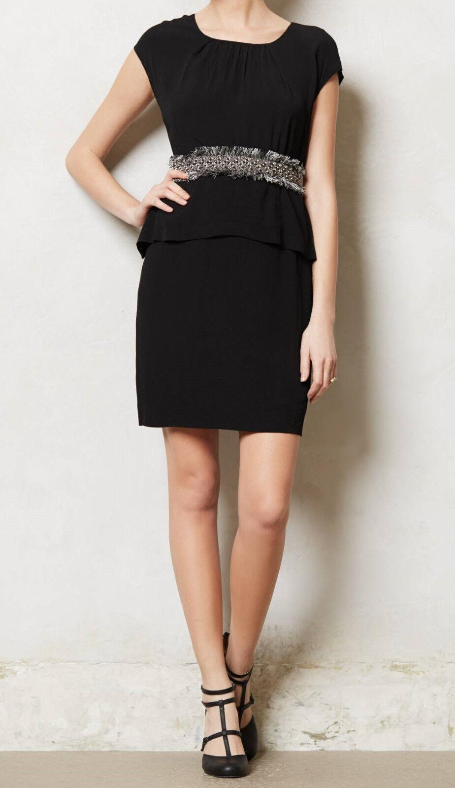 Moulinette Soeurs Sheath Crepe Peplum Dress Größes 6, 8 schwarz NW ANTHROPOLOGIE Ta