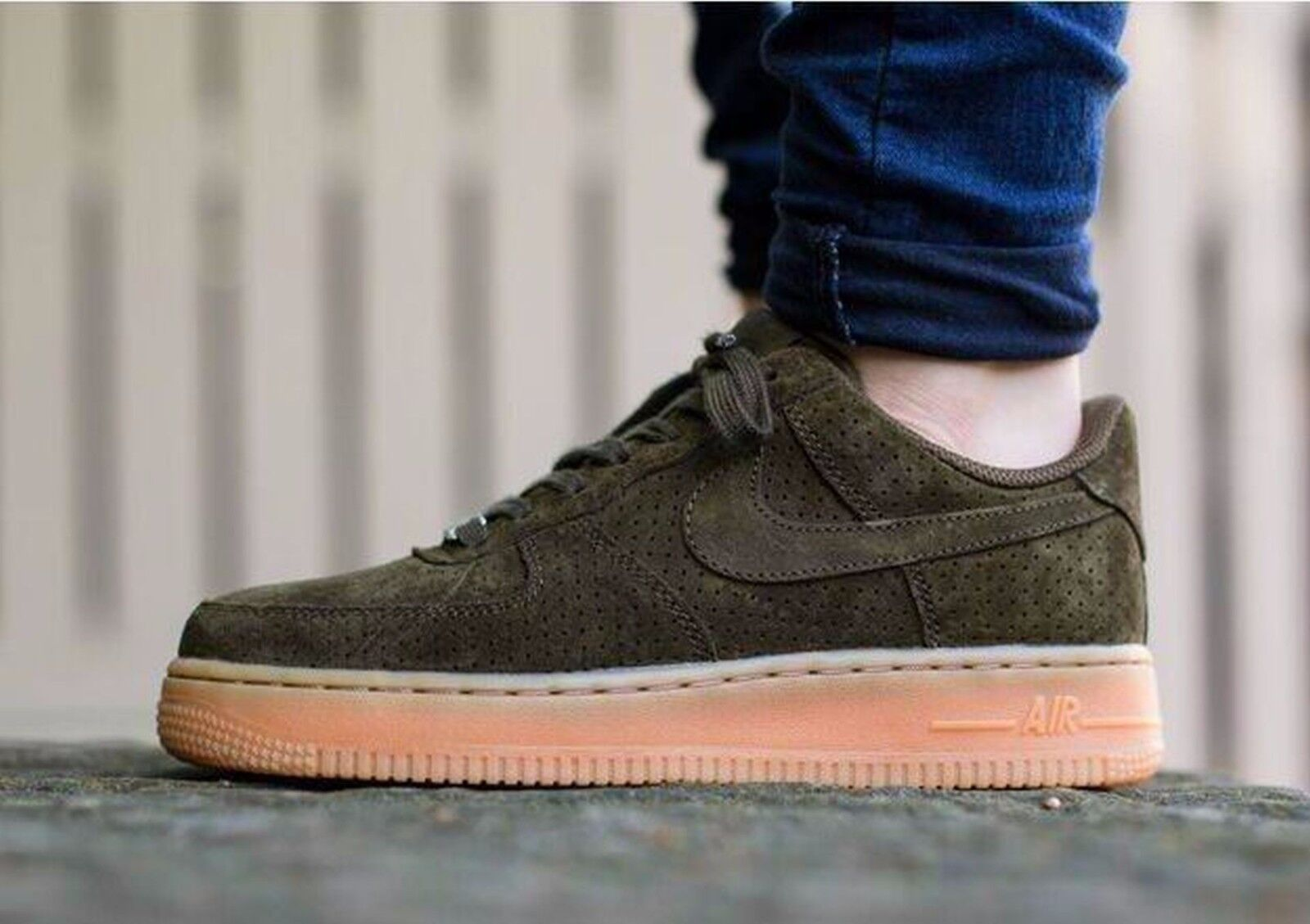 Nike air force 1 camoscio scuro loden, gomma wmns sz 749263-300