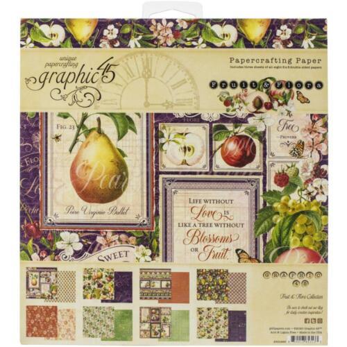 GRAPHIC 45 ~ FRUIT /& FLORA ~ 8x8 Paper Pad