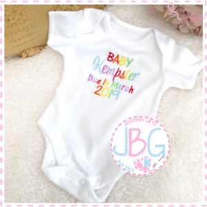 Personalised Baby Vest Due 2019 Unisex Clothes Embroidered Rainbow Design