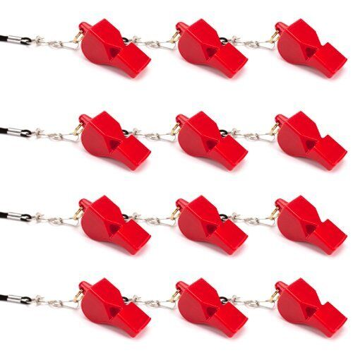 Ultra Loud High Pitch Red Pealess Plastic Whistle 12-Pack