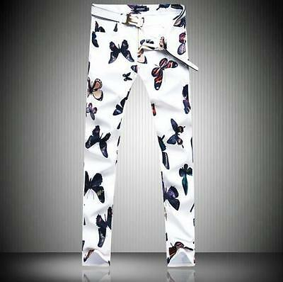 Mens Chic Printed Floral Butterfly Nightclub Cotton Slim Pants Trousers Casual