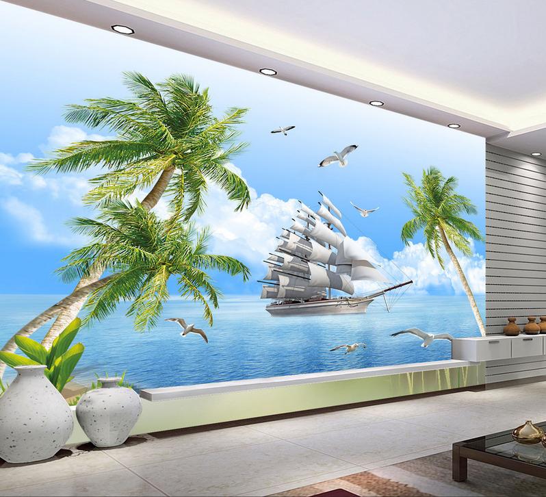 3D Baum Meer Segeln6 Tapete Tapeten Mauer Foto Familie Tapete Wandgemälde Summer