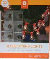 Target Globe String Light Set 20 Lights 16' Summer Patio Deck Red Or White Wire